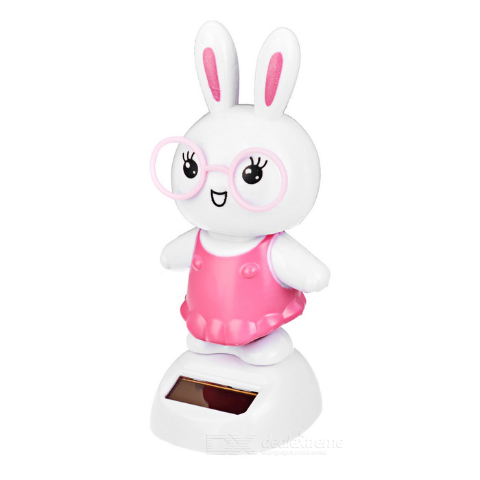 Solaire powered dancing rabbit desk table decoration voiture décor - rose