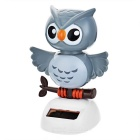 Solar Powered Cute Dancing Owl Home Desk Table Decoration Car Decor - Grey + White