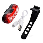 USB 4-LED 5-Mode Red Light Bike Warning Light Taillight - Red