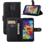 Wallet Case Cover w/ Stand / Card Slots for Samsung Galaxy S5 - Black