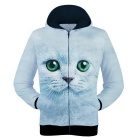 Fashionable 3D Cat Printing Polyester Hooded Jacket Coat - Light Blue + Multi-Color (Size L)