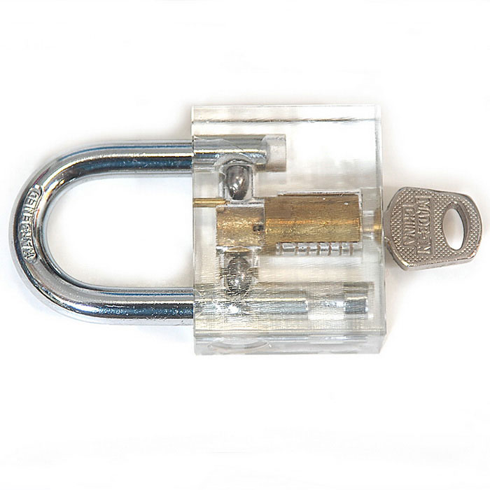 Transparent Inner Visual Lock w/ KeyLocksmith Supplies<br>ModelB127Quantity1 DX.PCM.Model.AttributeModel.UnitForm  ColorTransparent + SilverMaterialSteelPacking List1 x Practice lock1 x Key<br>