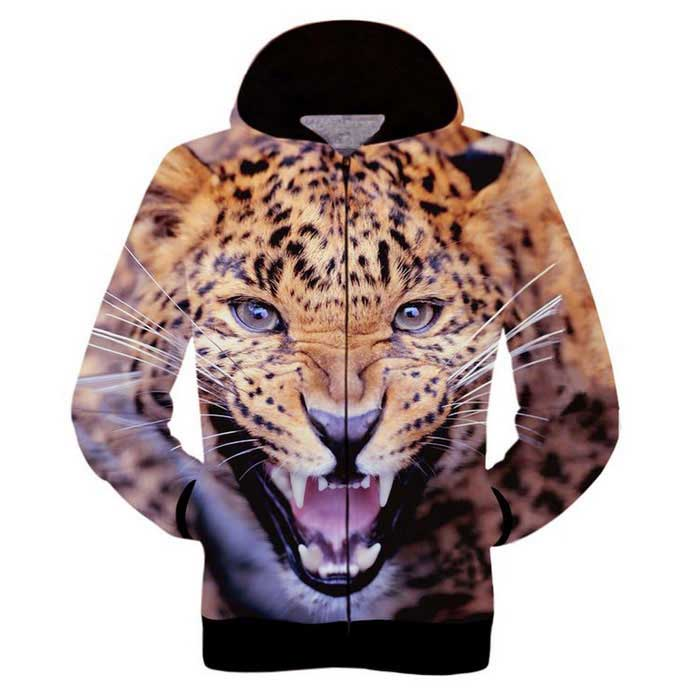 Fashionable 3D Leopard Printing Hooded Coat - Orange + Brown (M)