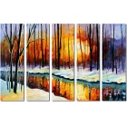 "Bizhen Frame-Free 5 Panels River Paintings Canvas Wall Decor Murals (70.87"" x 47.24"")"