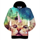 Fashionable 3D One-Horned Cat Printing Polyester Hooded Jacket Coat - Blue + Multi-Color (Size M)