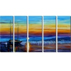 "Bizhen Frame-Free 5 Panels Harbour Paintings Canvas Wall Decor Murals (84.65"" x 47.24"")"