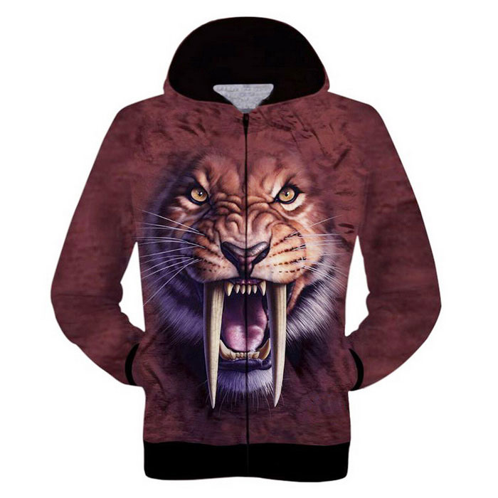3D Printing Tiger Pattern Hooded Jacket - Coffee+MultiColor (L)