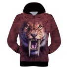 3D Printing Long Tooth Tiger Pattern Polyester Fiber Cloth Hooded Jacket - Coffee+Multicolor (L)