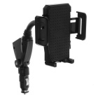 Dual USB Cigarette Lighter Charger w/ Car Mount 360 Rotating Car Holder - Black