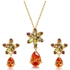 Xinguang Women's Fashion Simple Crystal Pendant Necklace + Earrings Set - Golden