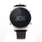 "J1 0.97"" Leather Round Screen Smart Watch w/ Pedometer, Sync. SMS, Remote Camera, Phone Call - Black"