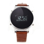 "J1 0.97"" Leather Round Screen Smart Watch w/ Pedometer, Sync. SMS, Remote Camera, Phone Call - Brown"