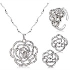 Xinguang Women's Hollow Rose Style Crystal Pendant Necklace + Earrings + Ring Set - Silver