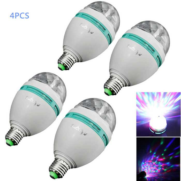 YouOKLight E27 3W RGB Crystal Ball Effect Light LED for Rotating Stage Lighting (AC 85-265V / 4PCS)