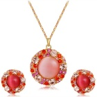 Xinguang Women's Simple Pink Crystal Pendant Necklace + Earrings Set - Golden +  Peachy Pink