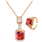 Xinguang Women's Crystal Pendant Necklace + Ring Set - Rose Gold + Red