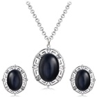 Xinguang Women's Rhinestones Inlaid Crystal Pendant Necklace + Earrings Set - Black + Silver
