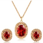 Xinguang Women's Sparkling Crystal Pendant Necklace + Earrings Set - Golden + Red