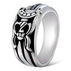 Xinguang Men's Vintage Engraved Sword Style Ring - Silver + Black (US Size 11)