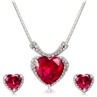 Xinguang Women's Heart-Shaped Rhinestones Inlaid Crystal Necklace + Earrings Set - Silver + Red