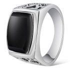 Xinguang Men's Cool Fashion Hollow Ring - Black + Silver (US 11)