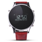 "J1 0.97"" Leather Round Screen Smart Watch w/ Pedometer, Sync. SMS, Remote Camera, Phone Call - Red"