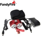 FandyFire XM-L T6 6-LED 5000lm Cool White 3-Mode Highlight Bicycle Bike Light - Red (6 x 18650)