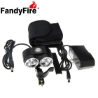 FandyFire XM-L T6 6-LED 5000lm Cool White 3-Mode Highlight Bicycle Bike Light - Black (6 x 18650)