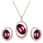 Xinguang Women's Purple Crystal Pendant Necklace + Earrings Set - Rose Gold