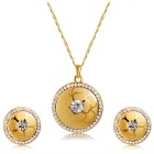 Xinguang Women's Simple Elegant Crystal Pendant Necklace + Earrings Set - Golden