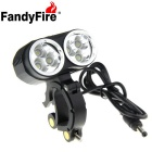 FandyFire XM-L T6 6-LED 5800lm Cool White 3-Mode Highlight Bicycle Bike Light - Black (4 x 26650)