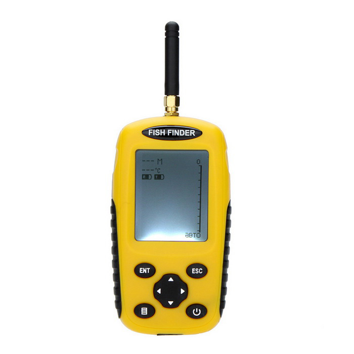 Dot Matrix LCD FishFinder Fishing Depth Sonar Sensor Alarm TransducerForm Coloryellow + blackMaterialABSQuantity1 DX.PCM.Model.AttributeModel.UnitPacking List1 x Fish Finder1 x Antenna(0.1m)1 x Wireless Floating Sonar Sensor1 x Charging Cable(0.6m)1 x Neck Strap(0.5m)1 x User Manual (English)<br>