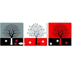 "Bizhen Frame-Free 3 Panels Abstract Tree Painting Canvas Wall Decor Murals (59.06"" x 19.69"")"