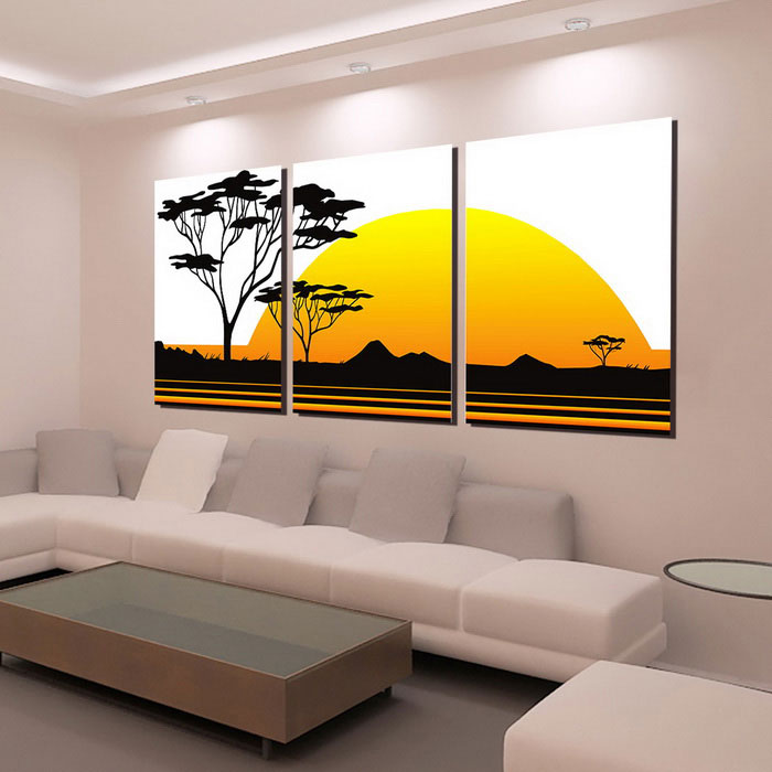 Bizhen abstract painting canvas wall decor murals yellow for Canvas mural painting