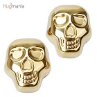 Hugmania-Skull Head Shaped Reusable Stainless Steel Stones Ice Cube Set for Wine/Juice - Gold (2PCS)