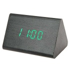SoaringE Green Light Triangle Wooden LED Desk Clock w/ Alarm Clock / Temperature - Black