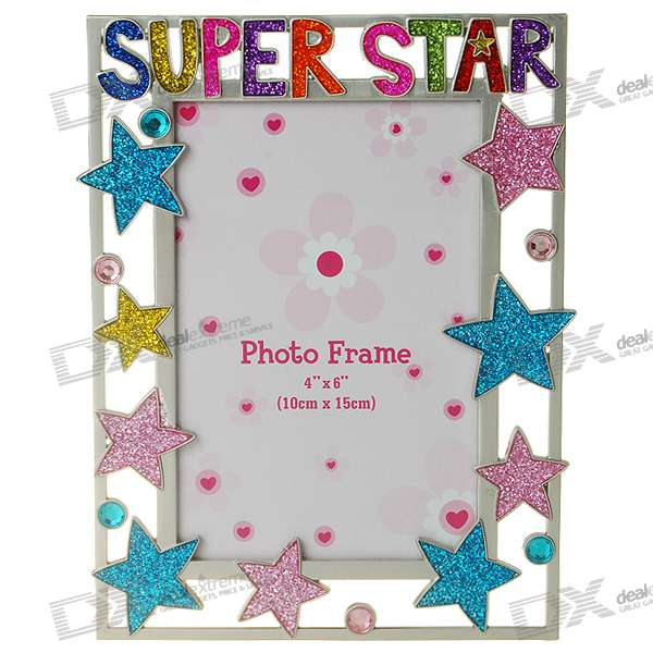 "Colorful Stars Themed Metal Photo Frame (4*6"")"