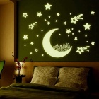 Beautiful Glow-in-the-Dark Moon & Stars PVC Wall Sticker - White