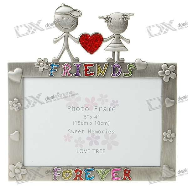 Love Themed Metal Photo Frame - Silver Gray (4*6