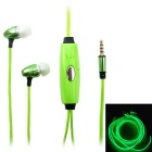 BL-13 In-Ear Earphone w/ Microphone / Visible EL Cold Light Twinkle with the Music Rhythm - Green