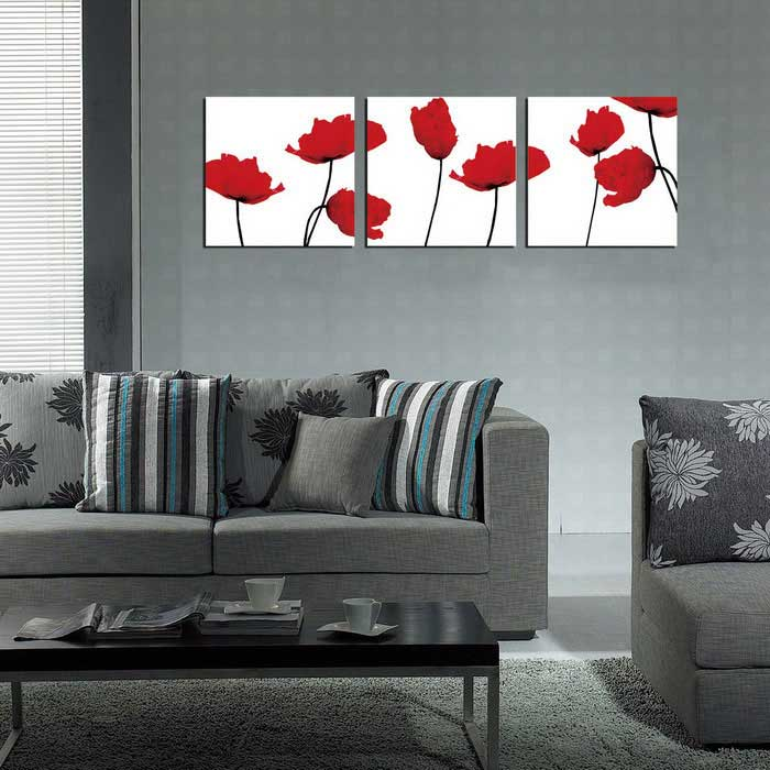 Bizhen flowers painting canvas wall decor murals red for Canvas mural painting