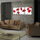 Bizhen Flowers Painting Canvas Wall Decor Murals - Red (3PCS)