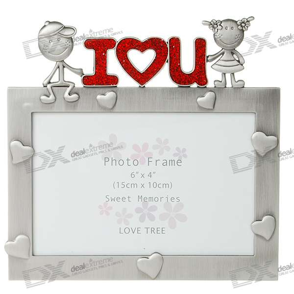 ILU Love Themed Metal Photo Frame - Silver Gray (4*6