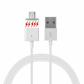 Cwxuan Magnetic Micro USB Charging Cable - White + Silver Grey (100cm)