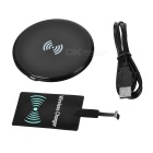 Qi Ultrathin Wireless Charger + Micro USB Trådløs Pad Kit - Svart