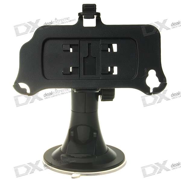 Plastic Car Swivel Mount Holder with Suction Cup for Iphone 4 - Black