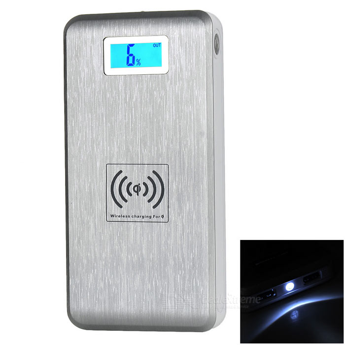7000mAh Dual USB Wireless Power Bank w/ Receiver - Silver + White