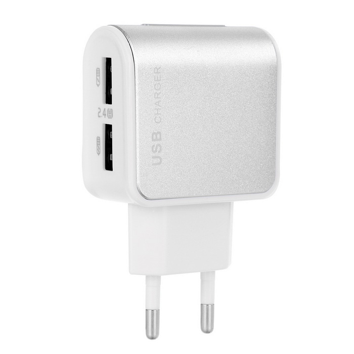Jtron 5V 2.4A 2-USB Power Adapter Charger - Silver + White (EU Plug)
