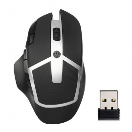 2.4GHz Wireless 8 Keys 2400DPI LED Optical Gaming Mouse - Black