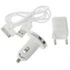 USB/AC/Car Charger Set for iPhone 3GS/4 - White